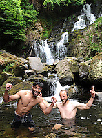 24-06-2014: Shilton Alphonso, Vancouver, and Moe Binder, Stuttgart, cooled down from the hot  weather and enjoyed a dip at Torc Waterfall, Killarney on Tuesday.  Picture: Eamonn Keogh (MacMonagle, Killarney)