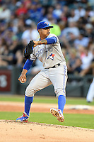 Toronto Blue Jays pitcher Marcus Stroman (54) delivers a pitch during a game against the Chicago White Sox on August 15, 2014 at U.S. Cellular Field in Chicago, Illinois.  Chicago defeated Toronto 11-5.  (Mike Janes/Four Seam Images)