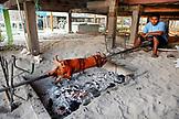 BELIZE, Caye Caulker, a restaurant prepares a pig for a dinner feast