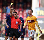 17.02.2019: Motherwell v Hearts: Tom Aldred booked for clashing with Steven Naismith