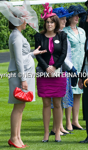 "PRINCESS EUGENIE.The Queen, Prince Philip, Princess Beatrice, Princess Eugenie and Princess Anne ride in the Royal precession on Ladies Day of Royal Ascot 2010_17/06/2010..Mandatory Photo Credit: ©Dias/Newspix International..**ALL FEES PAYABLE TO: ""NEWSPIX INTERNATIONAL""**..PHOTO CREDIT MANDATORY!!: NEWSPIX INTERNATIONAL(Failure to credit will incur a surcharge of 100% of reproduction fees)..IMMEDIATE CONFIRMATION OF USAGE REQUIRED:.Newspix International, 31 Chinnery Hill, Bishop's Stortford, ENGLAND CM23 3PS.Tel:+441279 324672  ; Fax: +441279656877.Mobile:  0777568 1153.e-mail: info@newspixinternational.co.uk"
