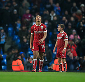 9th January 2018, Etihad Stadium, Manchester, England; Carabao Cup football, semi-final, 1st leg, Manchester City versus Bristol City; Bobby Reid of Bristol City looks to the sky in disappointment at losing the game