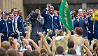 Sept. 21, 2012; Prince Shembo demands to know who stole his bike seat at the pep rally before the game against Michigan, 2012...Photo by Matt Cashore/University of Notre Dame