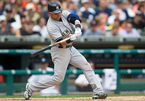 June 03, 2012:  New York Yankees right fielder Nick Swisher (33) at bat during MLB game action between the New York Yankees and the Detroit Tigers at Comerica Park in Detroit, Michigan.  The Yankees defeated the Tigers 5-1.