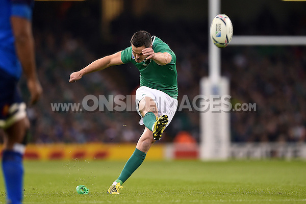 Jonathan Sexton of Ireland kicks for the posts. Rugby World Cup Pool D match between France and Ireland on October 11, 2015 at the Millennium Stadium in Cardiff, Wales. Photo by: Patrick Khachfe / Onside Images
