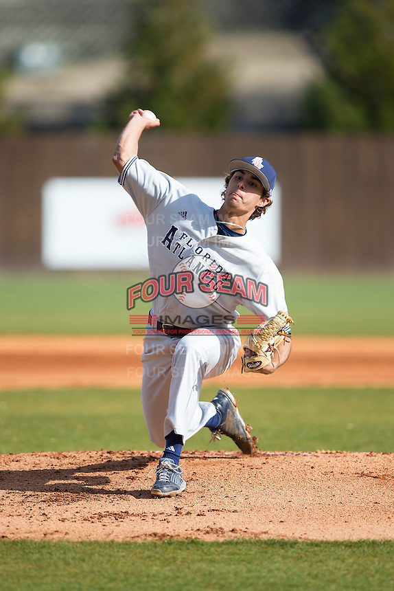 Florida Atlantic Owls starting pitcher Kyle Miller (17) in action against the Charlotte 49ers at Hayes Stadium on March 14, 2015 in Charlotte, North Carolina.  The Owls defeated the 49ers 8-3 in game one of a double header.  (Brian Westerholt/Four Seam Images)