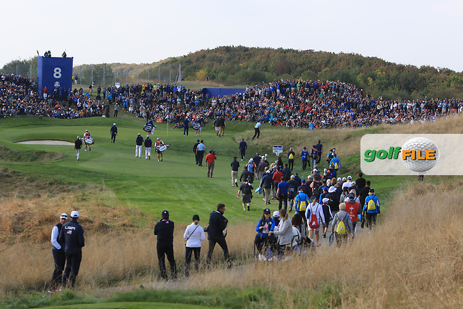 Looking down the 8th during the Friday Foursomes at the Ryder Cup, Le Golf National, Ile-de-France, France. 28/09/2018.<br /> Picture Thos Caffrey / Golffile.ie<br /> <br /> All photo usage must carry mandatory copyright credit (© Golffile | Thos Caffrey)