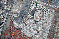 Nymph, from the Roman mosaic of Diana and her nymph surprised by Actaeon while bathing, 3rd century AD, from the House of the Procession of Venus, Volubilis, Northern Morocco. Volubilis was founded in the 3rd century BC by the Phoenicians and was a Roman settlement from the 1st century AD. Volubilis was a thriving Roman olive growing town until 280 AD and was settled until the 11th century. The buildings were largely destroyed by an earthquake in the 18th century and have since been excavated and partly restored. Volubilis was listed as a UNESCO World Heritage Site in 1997. Picture by Manuel Cohen