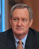 "Washington, DC - July 7, 2009 -- United States Senator Mike Crapo (Republican of Idaho) listens to the testimony during the U.S. Senate Committee on Environment and Public Works hearing entitled, ""Moving America toward a Clean Energy Economy and Reducing Global Warming Pollution: Legislative Tools."" in Washington, D.C. on Tuesday, July 7, 2009. The legislation being considered is known as a cap-and-trade bill that would place mandatory limits on the emissions of the greenhouse gases that are said to cause global warming..Credit: Ron Sachs / CNP"