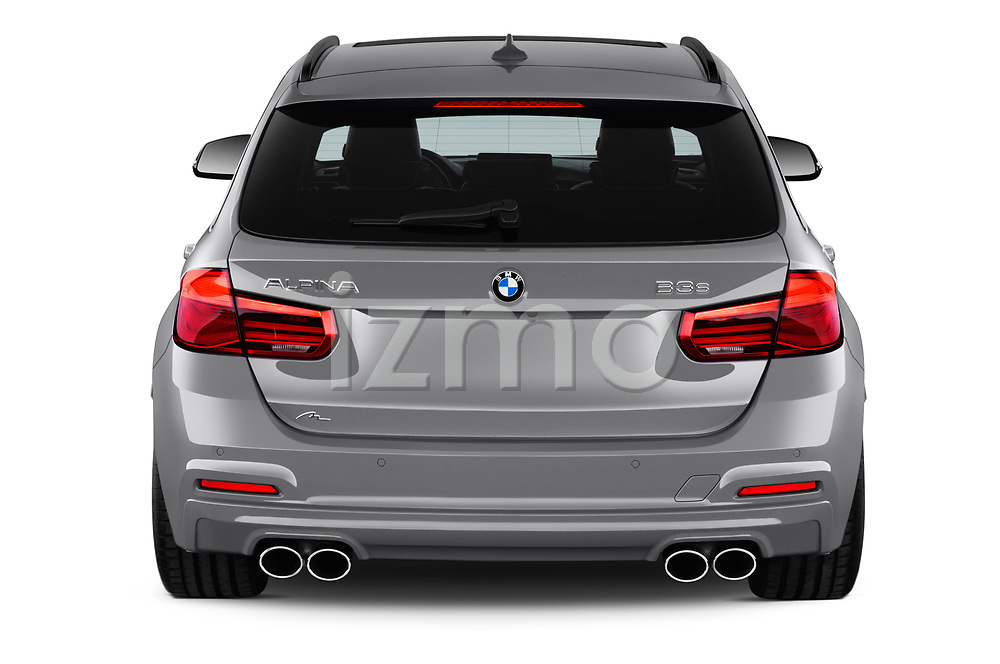 Straight rear view of a 2018 Alpina B3 S Touring Base 5 Door Wagon stock images