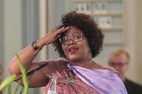 """Gedenkgottesdienst am Mittwoch den 29. August 2018 in der Franzoesischen Friedrichstadtkirche in Berlin-Mitte anlaesslich der Uebergabe sterblicher Ueberreste indigener Gemeinschaften aus der ehemaligen deutschen Kolonie """"Deutsch-Suedwestafrika"""" an die Regierung von Namibia.<br /> Die sterblichen Ueberreste von Hereros und Nama aus dem damaligen Deutsch-Suedwestafrika wurden in der Kolonialzeit unrechtmaessig entwendet und nach Deutschland gebracht. Am 31. August sollen sie in Windhuk in Namibia bei einem Staatsakt in Empfang genommen werden.<br /> Im Bild: Katrina Hanse-Himarwa, namibische Kulturministerin.<br /> 29.8.2018, Berlin<br /> Copyright: Christian-Ditsch.de<br /> [Inhaltsveraendernde Manipulation des Fotos nur nach ausdruecklicher Genehmigung des Fotografen. Vereinbarungen ueber Abtretung von Persoenlichkeitsrechten/Model Release der abgebildeten Person/Personen liegen nicht vor. NO MODEL RELEASE! Nur fuer Redaktionelle Zwecke. Don't publish without copyright Christian-Ditsch.de, Veroeffentlichung nur mit Fotografennennung, sowie gegen Honorar, MwSt. und Beleg. Konto: I N G - D i B a, IBAN DE58500105175400192269, BIC INGDDEFFXXX, Kontakt: post@christian-ditsch.de<br /> Bei der Bearbeitung der Dateiinformationen darf die Urheberkennzeichnung in den EXIF- und  IPTC-Daten nicht entfernt werden, diese sind in digitalen Medien nach §95c UrhG rechtlich geschuetzt. Der Urhebervermerk wird gemaess §13 UrhG verlangt.]"""