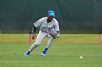 Central Connecticut State Blue Devils outfielder Christian Layne (3) during warmups before a game against the North Dakota State Bison on February 23, 2018 at North Charlotte Regional Park in Port Charlotte, Florida.  North Dakota State defeated Connecticut State 2-0.  (Mike Janes/Four Seam Images)