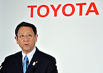 May 8, 2013, Tokyo, Japan - President Akio Toyoda of Toyota Motor Corp. announces fourth quarter earnings for the year ended March 2013 and this financial year's outlook during a news conference at the auto maker's Tokyo head office on Wednesday, May 8, 2013. Toyoda said its net profit surged from a year earlier as solid U.S. sales and a dracatically weaker yen helped lift its bottom line.  (Photo by Natsuki Sakai/AFLO).