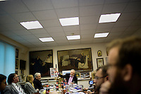 "Pavel Gusev, Editor in Chief of the independent Moskovskii Komsomolets, meets with foreign journalists in his offices in Moscow, Russia. The paper, largely known for publishing sensational coverage of general news and society. In March 2013, MK and Gusev came under fire for criticizing the Duma and a number of MPs who switched from opposition to pro-government parties, calling the switch ""political prostitution."""