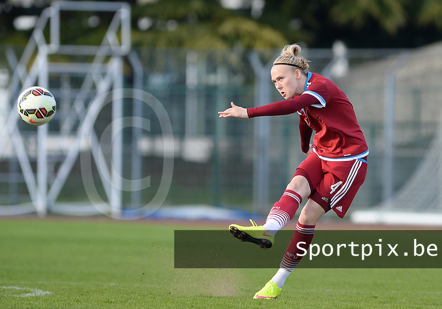 20150406 - MELUN , FRANCE  : Russian Anna Belomyttseva pictured during the soccer match between Women Under 19 teams of Iceland and Russia , on the second matchday in group 3 of the UEFA Elite Round Women Under 19 at Stade Municipal , Melun , France . Monday 6th April 2015 . PHOTO DAVID CATRY