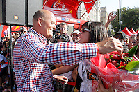 Team Saxo Bank-Tinkoff Bank's General Manager Bjarne Riis celebrates with Alberto Contador's wife the victory in La Vuelta after the stage of La Vuelta 2012 beetwen Cercedilla and Madrid the stage of La Vuelta 2012 beetwen Cercedilla and Madrid.September 9,2012. (ALTERPHOTOS/Paola Otero)