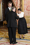 King Felipe VI of Spain (l) and Queen Letizia of Spain (r) receive Vatican secretary of State cardinal Pietro Parolin because of the United Nations conference for the Climate Summit 2019 (COP25) at the Royal Palace. December 2,2019. (ALTERPHOTOS/Pool/Carlos Alvarez)