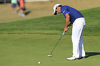 Pablo Larrazabal (ESP) putts on the 14th green during Thursday's Round 1 of the 2016 Portugal Masters held at the Oceanico Victoria Golf Course, Vilamoura, Algarve, Portugal. 19th October 2016.<br /> Picture: Eoin Clarke   Golffile<br /> <br /> <br /> All photos usage must carry mandatory copyright credit (© Golffile   Eoin Clarke)