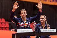 Den Bosch, The Netherlands, Februari 8, 2019,  Maaspoort , FedCup  Netherlands - Canada, Draw, Dutch team, captain Paul Haarhuis and Bibiana Schoofs<br /> Photo: Tennisimages/Henk Koster