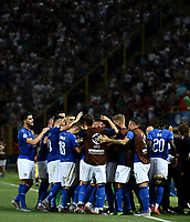 Lorenzo Pellegrini of Italy celebrates with team mates after scoring the goal of 3-1 with Patrick Cutrone <br /> Bologna 16-06-2019 Stadio Renato Dall'Ara <br /> Football UEFA Under 21 Championship Italy 2019<br /> Group Stage - Final Tournament Group A<br /> Italy - Spain <br /> Photo Andrea Staccioli / Insidefoto