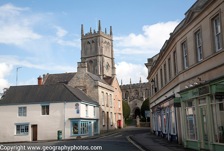 St Mary The Virgin Church and historic buildings in Church Street, Calne, Wiltshire, England