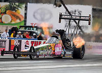 Oct 28, 2016; Las Vegas, NV, USA; NHRA top fuel driver Terry McMillen during qualifying for the Toyota Nationals at The Strip at Las Vegas Motor Speedway. Mandatory Credit: Mark J. Rebilas-USA TODAY Sports