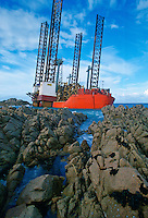 Oil rig aground in Grandes Rocques Bay, Guernsey, Channel Islands