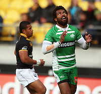 Manawatu's Lote Raikabula celebrates his try. Air NZ Cup - Wellington Lions v Manawatu Turbos at Westpac Stadium, Wellington, New Zealand. Saturday 3 October 2009. Photo: Dave Lintott / lintottphoto.co.nz
