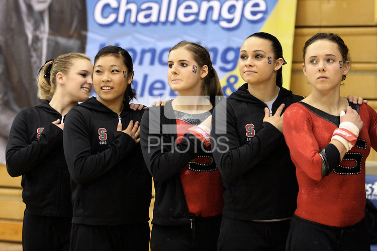 27 January 2008: Blair Ryland, Danielle Ikoma, Carly Janiga, Liz Tricase, and Kelly Fee during Stanford's 195.050-195.025 loss to UCLA at Pauley Pavilion in Stanford, CA.