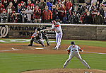 12 October 2012: Washington Nationals third baseman Ryan Zimmerman hits into an infield fly to Daniel Descalso for the final out of Postseason Playoff Game 5 of the National League Divisional Series against the St. Louis Cardinals at Nationals Park in Washington, DC. The Cardinals stunned the home team with a four-run rally in the 9th inning to defeat the Nationals 9-7 and win the NLDS, moving on to the NL Championship Series. Mandatory Credit: Ed Wolfstein Photo
