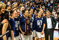 """March 27, 2017 :  Gino Auriemma and the """"ladies"""" celebrate heading to their 10th straight trip to the final four during the NCAA Women's East Regional Final between the Oregon Ducks and Connecticut Huskies at the Webster Bank Center in Bridgeport, Connecticut. Dan Heary/ESW/CSM"""