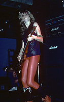 Kelly Johnson of Girlschool photographed in Chicago, Illinois.<br /> Jan. 1984<br /> CAP/MPI/GA<br /> &copy;GA/MPI/Capital Pictures
