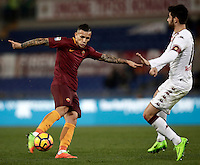 Calcio, Serie A: Roma, stadio Olimpico, 19 febbraio 2017.<br /> Roma&rsquo;s Leandro Paredes scores during the Italian Serie A football match between As Roma and Torino at Rome's Olympic stadium, on February 19, 2017.<br /> UPDATE IMAGES PRESS/Isabella Bonotto