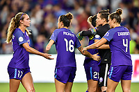 Orlando, FL - Saturday July 07, 2018: Dani Weatherholt, Carson Pickett, Ashlyn Harris, Shelina Zadorsky during the second half of a regular season National Women's Soccer League (NWSL) match between the Orlando Pride and the Washington Spirit at Orlando City Stadium. Orlando defeated Washington 2-1.