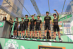 Mitchelton-Scott at sign on before the start of the 112th edition of Il Lombardia 2018, the final monument of the season running 241km from Bergamo to Como, Lombardy, Italy. 13th October 2018.<br /> Picture: Eoin Clarke | Cyclefile<br /> <br /> <br /> All photos usage must carry mandatory copyright credit (© Cyclefile | Eoin Clarke)
