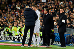 Gareth Bale (R) and Zinedine Zidane coach of Real Madrid during La Liga match between Real Madrid and Real Sociedad at Santiago Bernabeu Stadium in Madrid, Spain. November 23, 2019. (ALTERPHOTOS/A. Perez Meca)