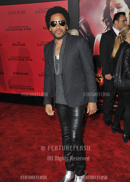 Lenny Kravitz at the US premiere of his movie &quot;The Hunger Games: Catching Fire&quot; at the Nokia Theatre LA Live.<br /> November 18, 2013  Los Angeles, CA<br /> Picture: Paul Smith / Featureflash