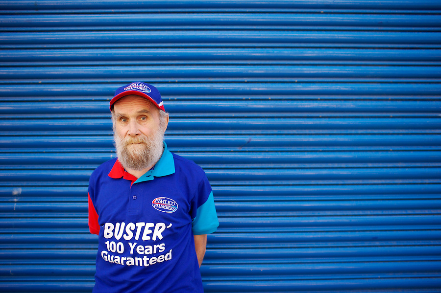 Buster Martin, possibly the UK's oldest working employee having been born in 1906. He works as a part time van cleaner for the plumbing firm, Pimlico Plumbers, in London - cleaning their fleet of vans. He came to media fame in 2007 having fended off an attempted mugging. However further newspaper stories have questioned whether he was older than 100 years in age. Photographed in 2007.