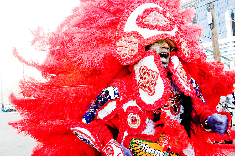 "Robert Stevenson, ""flag boy"" of the Golden Comanches Mardi Gras Indians, sings a song in New Orleans on February 28, 2006."