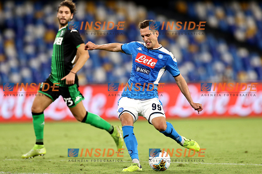 Arkadiusz Milik of SSC Napoli in action during the Serie A football match between SSC Napoli and US Sassuolo at stadio San Paolo in Napoli ( Italy ), July 25th, 2020. Play resumes behind closed doors following the outbreak of the coronavirus disease. <br /> Photo Cesare Purini / Insidefoto