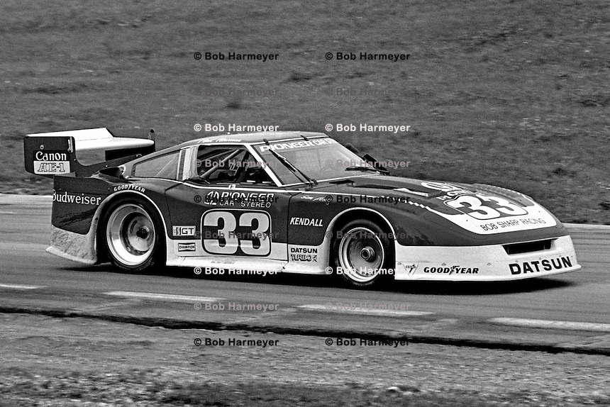 The Datsun 280ZX Turbo driven by Sam Posey and Paul Newman exits Turn 6 during a Camel GT IMSA race at Road America near Elkhart Lake, Wisconsin, on August 31, 1980. (Photo by Bob Harmeyer)