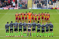 Bradford City and Plymouth Argyle observe a minutes silence during the Sky Bet League 1 match between Bradford City and Plymouth Argyle at the Northern Commercial Stadium, Bradford, England on 11 November 2017. Photo by Thomas Gadd.