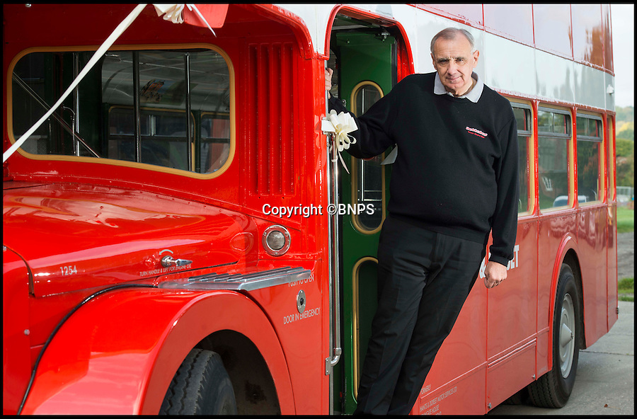 BNPS.co.uk (01202 558833)<br /> Pic: TomWren/BNPS<br /> <br /> Trevor Shore on his Bristol FLF Lodekka double-decker.<br /> <br /> A bus enthusiast who once ran into a burning building to rescue a double-decker has saved it again after buying it for a restoration project 40 years later.<br /> <br /> Trevor Shore was an 18-year-old conductor when he repeatedly dashed into a blazing bus station in 1976 to drive three of the vehicles to safety in the nick of time.<br /> <br /> Forty years on and Trevor, 58, from Poole, Dorset, has saved one of the three Bristol FLF Lodekka double-deckers from leaving the country after buying it for &pound;13,000.