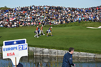 Henrik Stenson (Team Europe) and Justin Rose (Team Europe) head down 11 with a two shot lead during Saturday's foursomes of the 2018 Ryder Cup, Le Golf National, Guyancourt, France. 9/29/2018.<br /> Picture: Golffile | Ken Murray<br /> <br /> <br /> All photo usage must carry mandatory copyright credit (&copy; Golffile | Ken Murray)