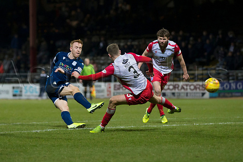 30th November 2019; Dens Park, Dundee, Scotland; Scottish Championship Football, Dundee Football Club versus Queen of the South; Danny Johnson of Dundee scores for 1-1 in the 92nd minute - Editorial Use