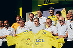 A celebration of 100 years of the Yellow Jersey stage winner Julian Alaphilippe (FRA) Deceuninck-Quick Step pictured with former champions Luc Leblanc,  Laurent Desbiens, Thor Hushovd, Laurent Jalalbert, Sylvain Chavanel, Bernard Thevenet, Eddy Merckx, Bernard Hinault and Joop Zoetemelk at the end of Stage 13 of the 2019 Tour de France an individual time trial running 27.2km from Pau to Pau, France. 19th July 2019.<br /> Picture: ASO/Thomas Maheux | Cyclefile<br /> All photos usage must carry mandatory copyright credit (© Cyclefile | ASO/Thomas Maheux)