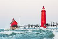 64795-01219 Grand Haven South Pier Lighthouse at sunrise on Lake Michigan, Ottawa County, Grand Haven, MI