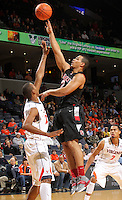 Dec. 22, 2010; Charlottesville, VA, USA; Seattle Redhawks forward Aaron Broussard (2) shoots over Virginia Cavaliers forward Akil Mitchell (25) during the game at the John Paul Jones Arena. Mandatory Credit: Andrew Shurtleff