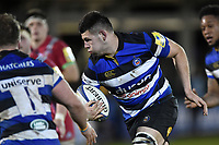 Rhys Davies of Bath United goes on the attack. Aviva A-League match, between Bath United and Harlequins A on March 26, 2018 at the Recreation Ground in Bath, England. Photo by: Patrick Khachfe / Onside Images