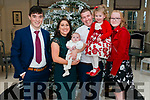 Andrea Dennehy and Donal Horgan from Rathmore celebrated christening of their son Cillian pictured with their daughter Leah and god parents Timothy Healy and Dawn Carmody in the Heights Hotel, Killarney last Sunday.